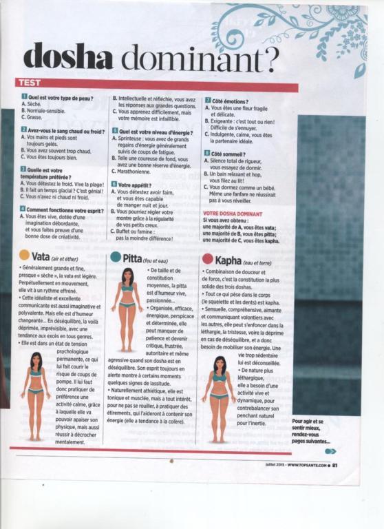 LA MEDECINE AYURVEDIQUE - TOP SANTE NO 298 JUILLET 2015 PAGE 3