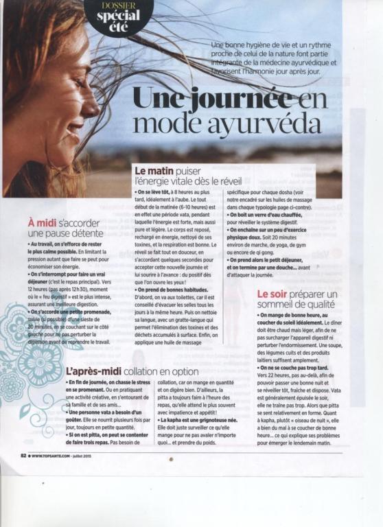 LA MEDECINE AYURVEDIQUE - TOP SANTE NO 298 JUILLET 2015 PAGE 4