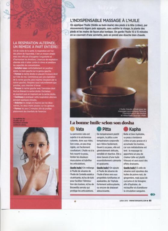 LA MEDECINE AYURVEDIQUE - TOP SANTE NO 298 JUILLET 2015 PAGE 5