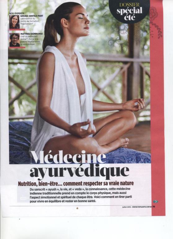 LA MEDECINE AYURVEDIQUE - TOP SANTE NO 298 JUILLET 2015