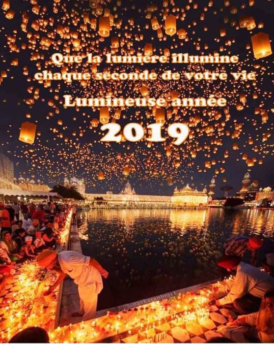 CARTE DE VOEUX 2019 avec temple Amrithsa