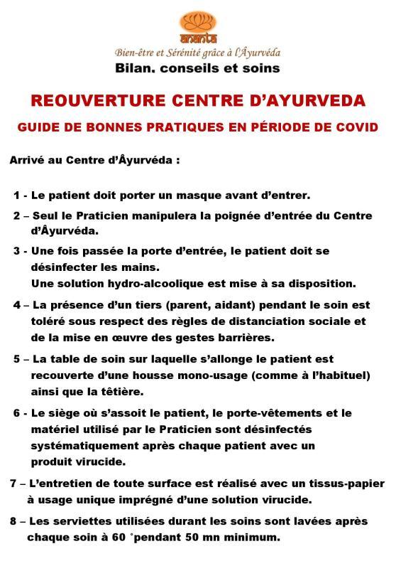GUIDE REOUVERTURE CENTRE ANANTA COVID